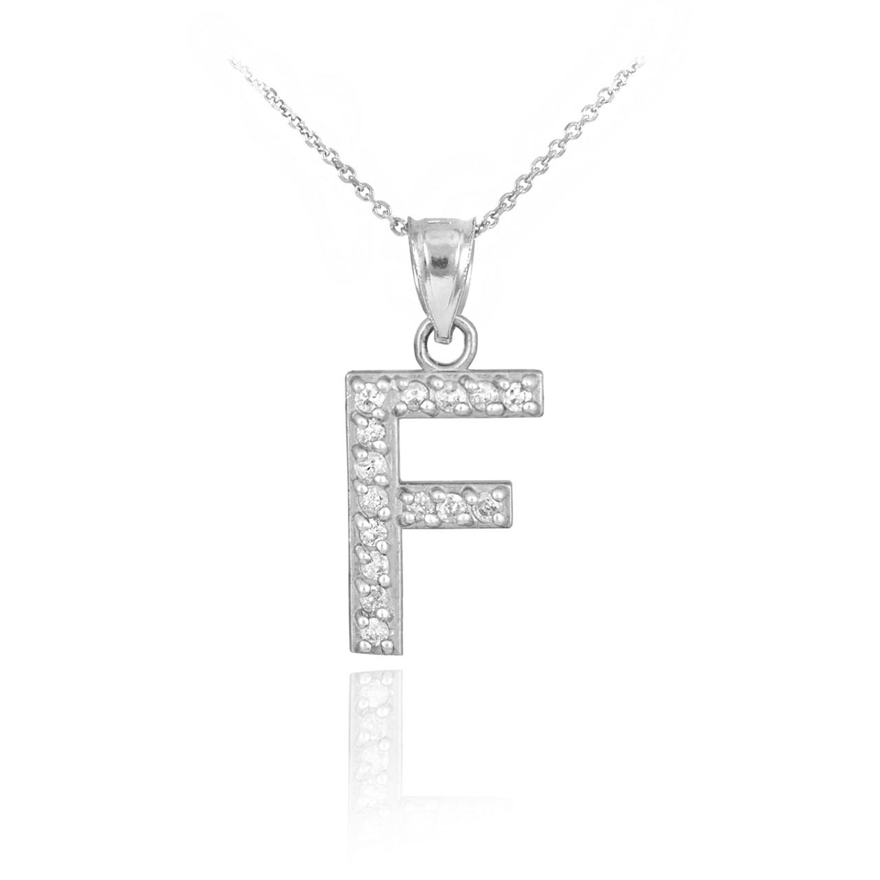 White gold letter f diamond initial pendant necklace aloadofball Gallery