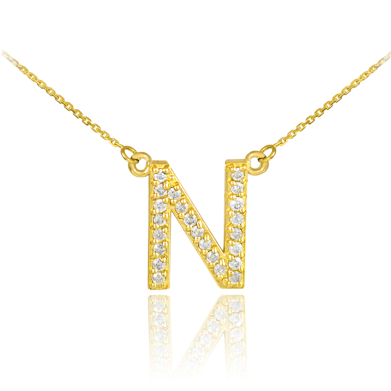 14k gold letter n diamond initial necklace aloadofball Gallery
