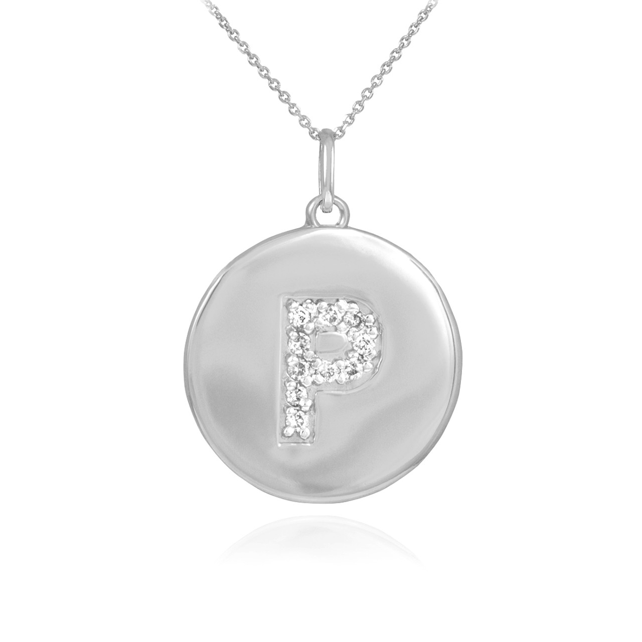 White gold letter p initial diamond disc pendant necklace aloadofball Gallery