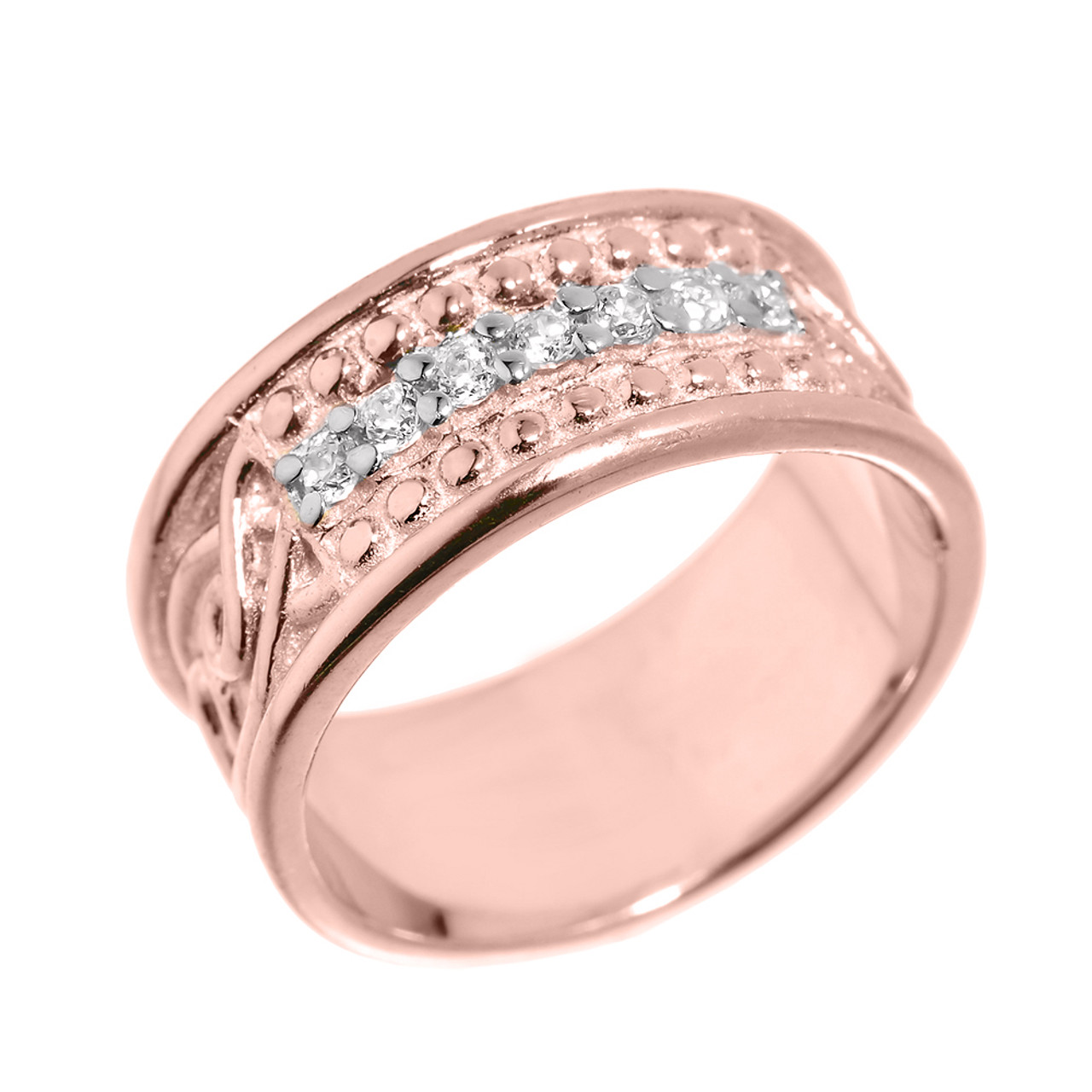 Rose Gold Celtic Knot Diamond Wedding Band