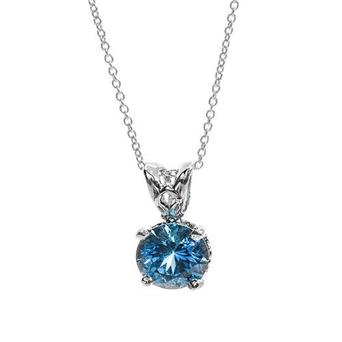 14k white gold blue topaz december birthstone necklace. Black Bedroom Furniture Sets. Home Design Ideas