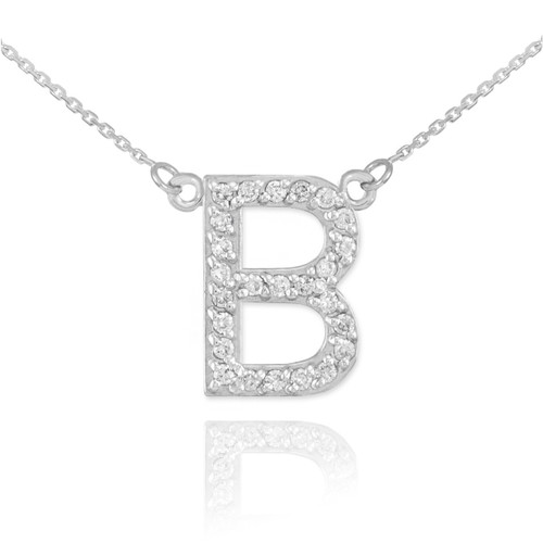 14k white gold letter c diamond initial necklace 14k white gold letter b diamond initial necklace aloadofball Choice Image
