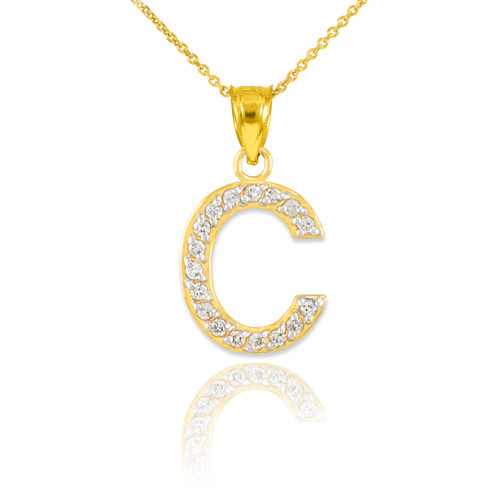 Gold letter c diamond initial pendant necklace aloadofball Gallery