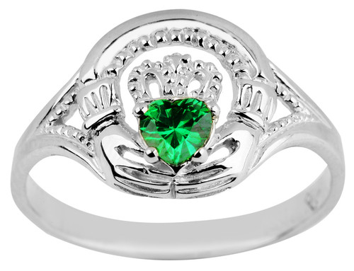 Gold Claddagh Ring with CZ Emerald Green Stone