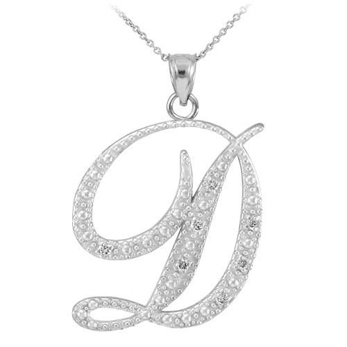 14k white gold letter script d diamond initial pendant necklace mozeypictures Choice Image