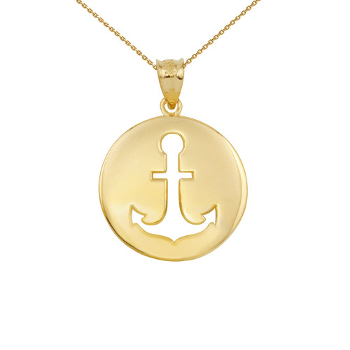 Yellow gold anchor silhouette circle pendant necklace aloadofball Image collections