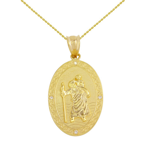 Solid yellow gold saint christopher medallion diamond pendant solid yellow gold saint christopher medallion diamond pendant necklace 1 aloadofball Images