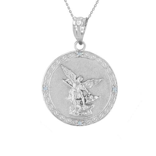 White gold st michael archangel diamond pendant necklace 102 aloadofball Gallery