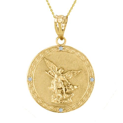 White gold st michael archangel diamond pendant necklace 102 yellow gold st michael archangel diamond pendant necklace 114 aloadofball Gallery
