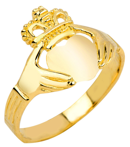 Gold Claddagh Ring Ladies Polished Classic