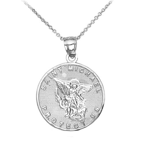Pendants necklaces saints charms saint michael page 1 saint michael silver coin pendant necklace aloadofball Choice Image