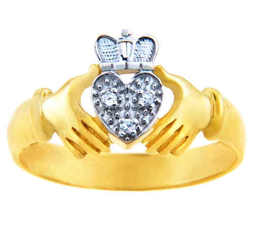 The Two Tone Gold Claddagh Ring with Diamonds