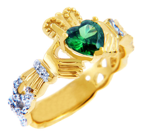 Diamond Claddagh Ring 0 40 Carats with Emerald Colored Stone