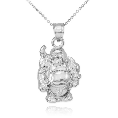 White gold laughing buddha pendant necklace buddha buddhist pendant white gold laughing buddha pendant necklace aloadofball Image collections