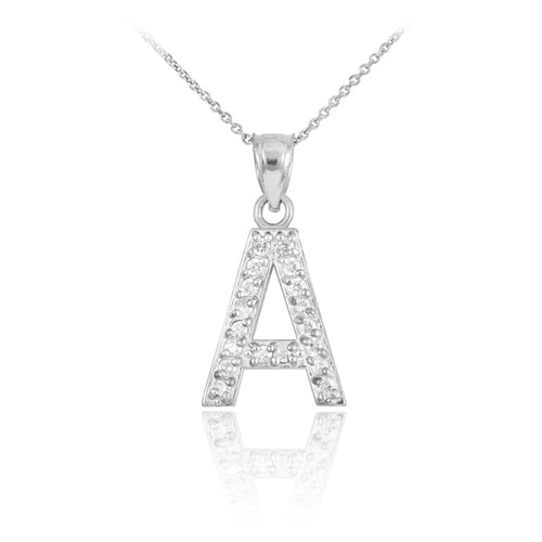 White gold letter a initial diamond monogram pendant necklace aloadofball Gallery