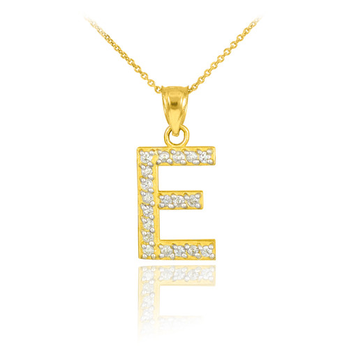 Gold letter c diamond initial pendant necklace gold letter e diamond initial pendant necklace aloadofball Choice Image
