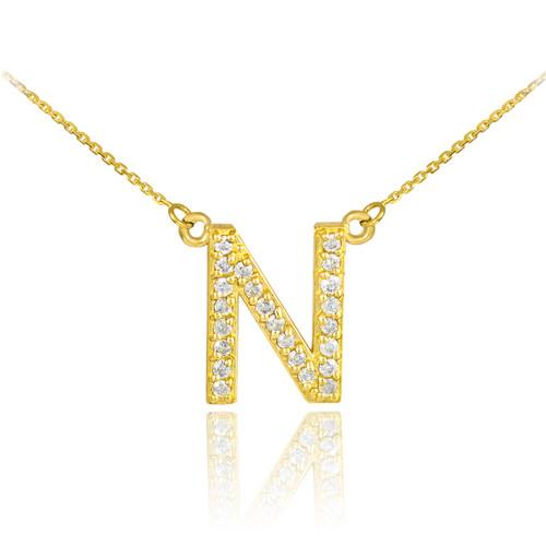 Initial pendants gold initial pendants yellow gold initial 14k gold letter n diamond initial necklace aloadofball Gallery
