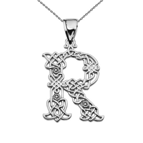 Pendants necklaces initials collection r page 1 claddagh gold r initial in celtic knot pattern sterling silver pendant necklace aloadofball Image collections