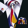 White with gold,red,blue and black contemporary pattern necktie set.