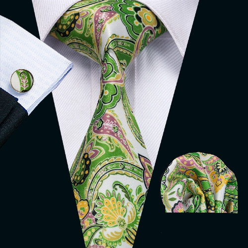 Whites with green, gold, black and purple floral pattern necktie set.
