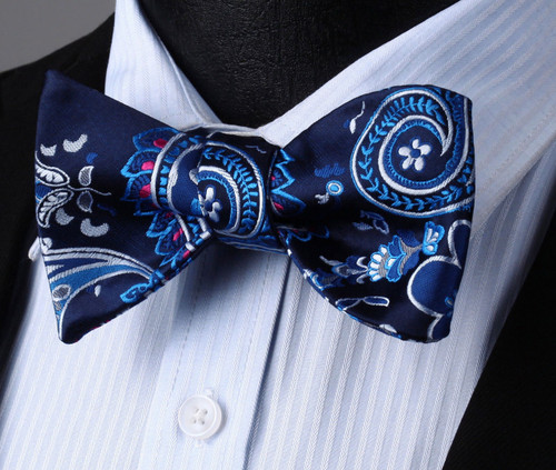 Navy blue with sky-blue, silver and red geometric pattern bow tie set.