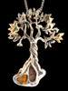 Primeval Forest Tree Pendant #3 - Mexican Opal - Silver and 14K Gold