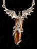 Crystal Icicle Dragon Pendant in Silver