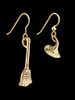 Witch's Hat and Witchs' Broom Stick Earrings - 14K Gold