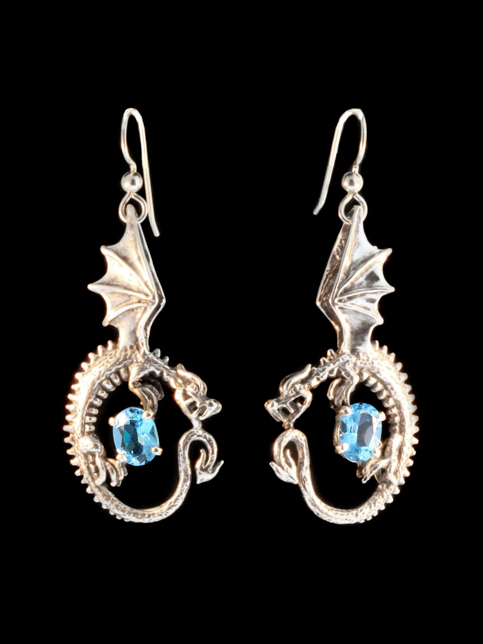 Oracle Dragon Earrings With Blue Topaz
