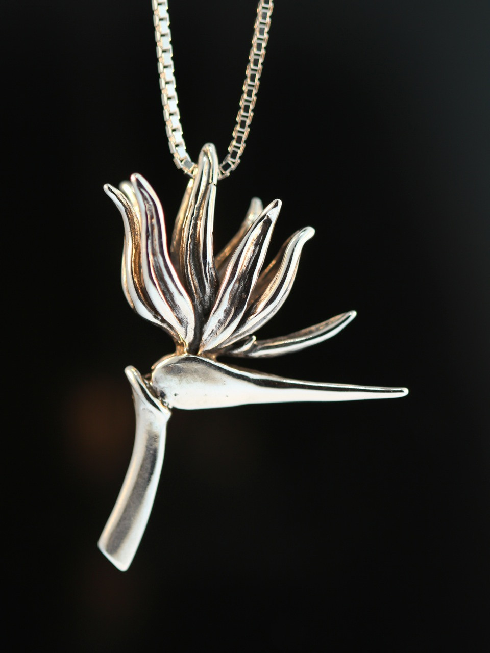 Bird of paradise flower pendant silver marty magic store bird of paradise charm pendant right facing aloadofball Image collections