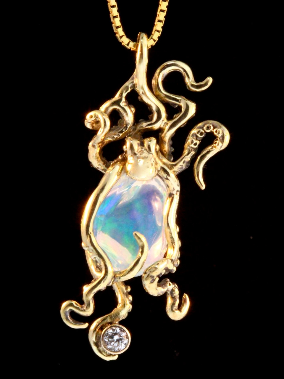 pendant octopus colored oil slick glass