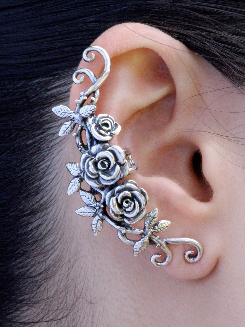 Rose Tendril Ear Cuff Silver Marty Magic Store