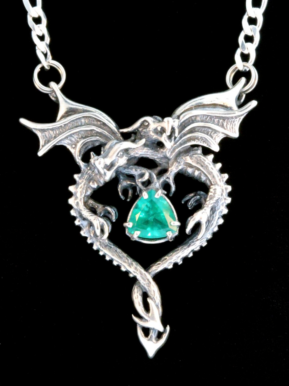 Dragon heart pendant with emerald silver marty magic store dragon heart pendant with emerald silver aloadofball Images