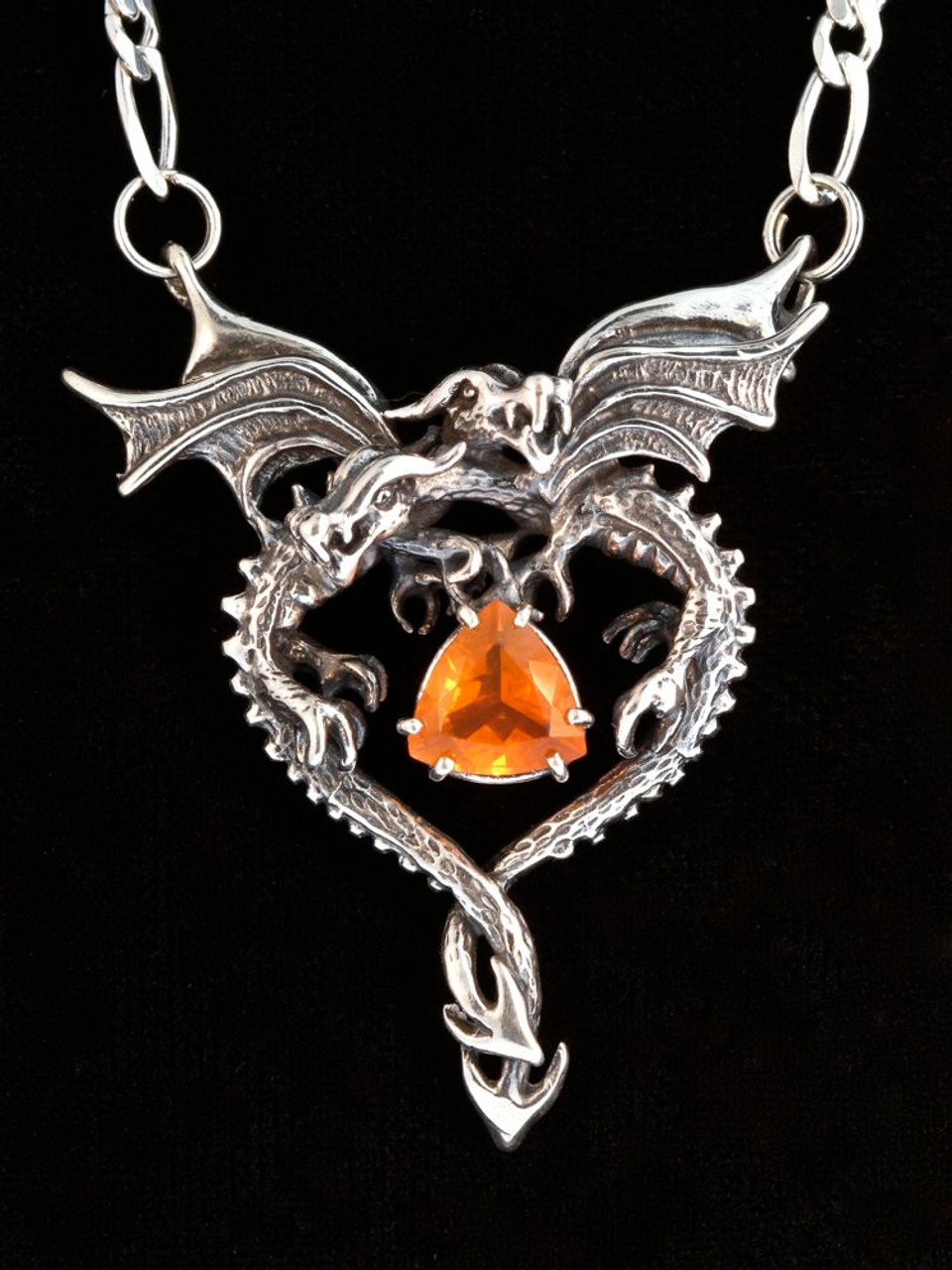 Dragon heart pendant mexican fire opal silver marty magic store dragon heart pendant mexican fire opal silver aloadofball Image collections