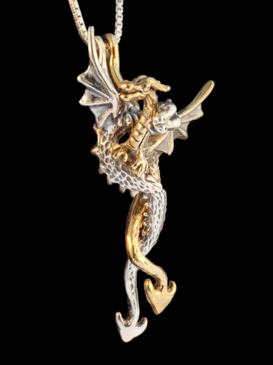 Dragon desire pendant two piece pendant jewelry gold dragon desire pendant two pieces 14k gold and silver aloadofball Choice Image