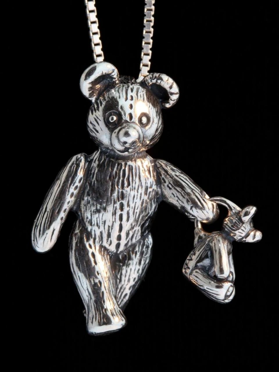 Teddy bears large bear with baby bear pendant jewelry large bear holding baby bear pendant aloadofball Gallery