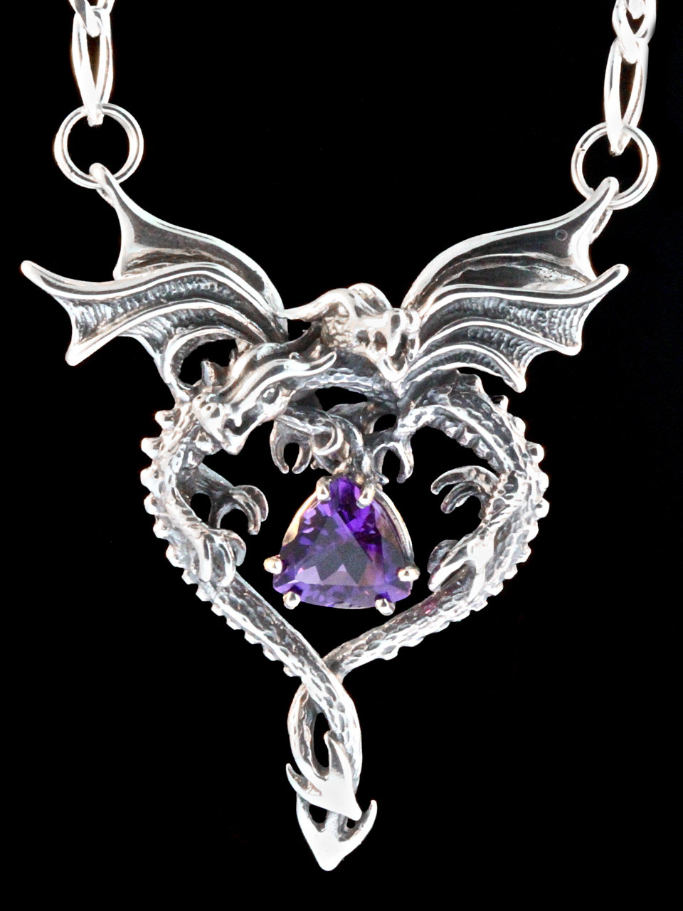 Dragon heart pendant with amethyst jewelry dragon heart pendant with amethyst mozeypictures Gallery