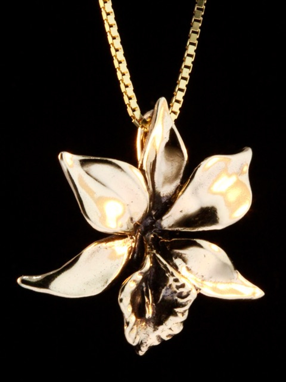 Orchid charm gold jewelry gold orchid charm 14k gold aloadofball Choice Image