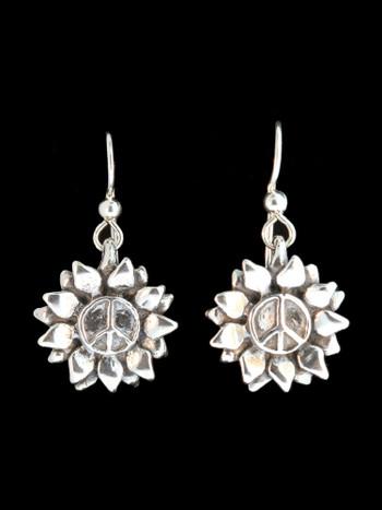 Flower Power Peace Symbol Earrings