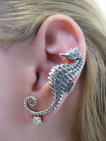 Seahorse Ear Cuff Silver