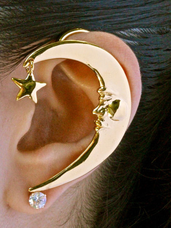 Crescent Moon Ear Wrap - Gold Vermeil