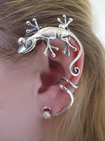 Curious Gecko Ear Wrap - Silver
