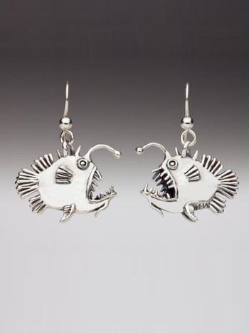 Angler Fish Earrings - Silver