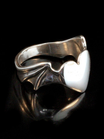 Winged Heart Ring - Silver
