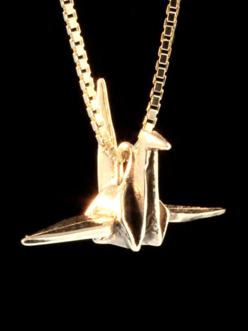 Peace Crane Charm in 14k Gold