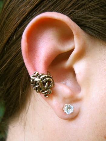 Octopus Tentacle Twist Ear Cuff - Bronze