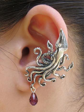 Kraken Squid Ear Cuff with Swarovski Briolette Drop - Silver