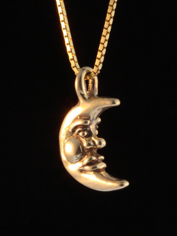 Gold Small Moon Charm - 14k Gold