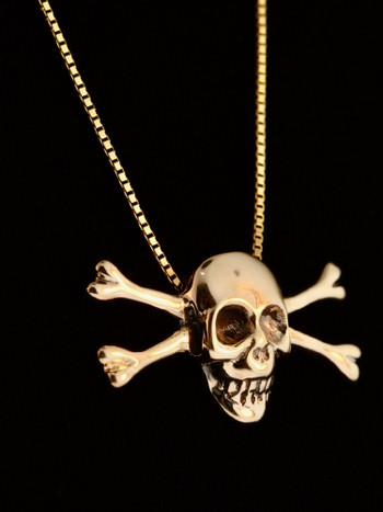 Gold skull and crossbone pendant 14k gold marty magic store gold skull and crossbone pendant 14k gold aloadofball Gallery
