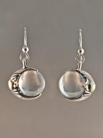 Moon Orb Earrings - Silver